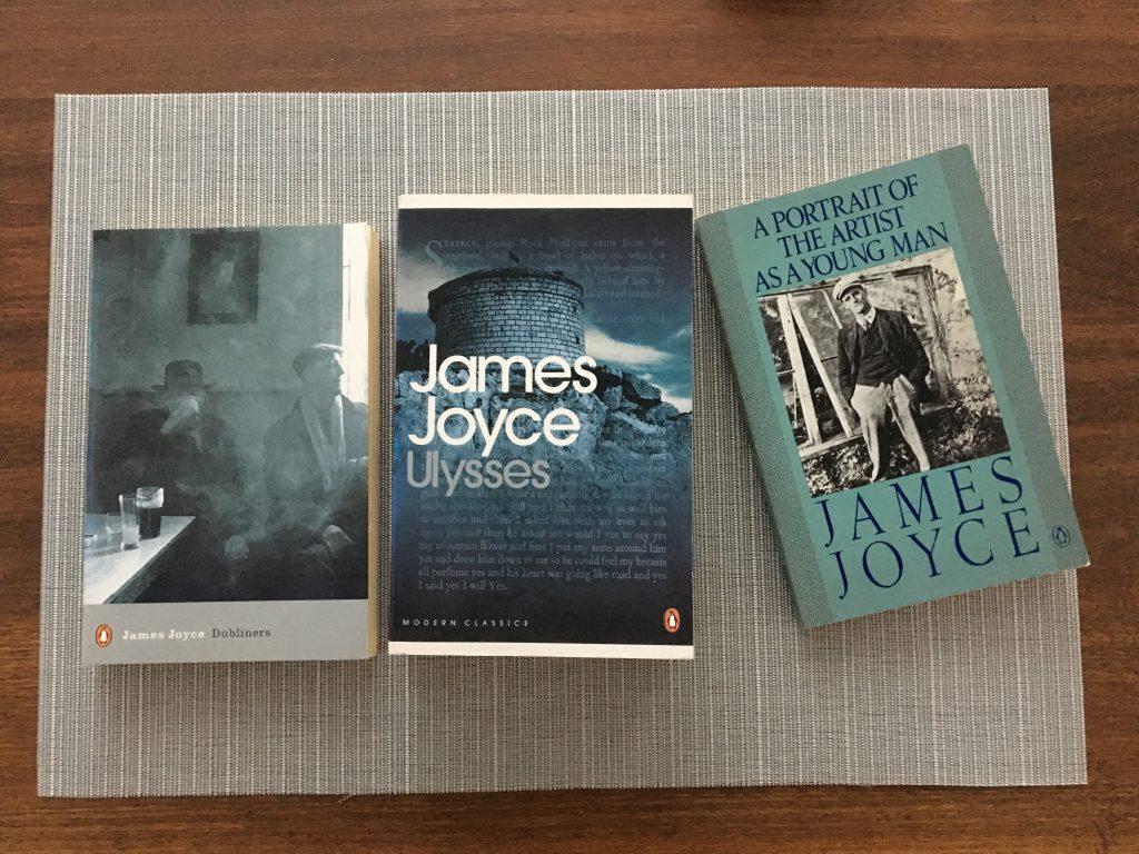 Books by the classic Irish modernist James Joyce.