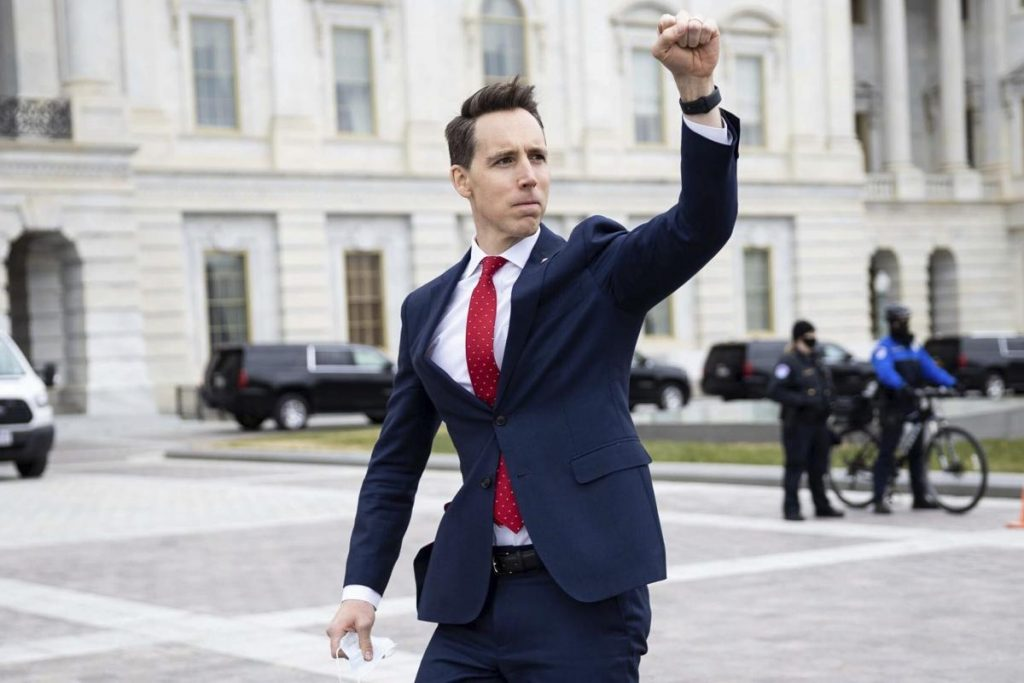 Senator Josh Hawley prior to a mob of insurgents storming the Capitol on Wednesday, January 6