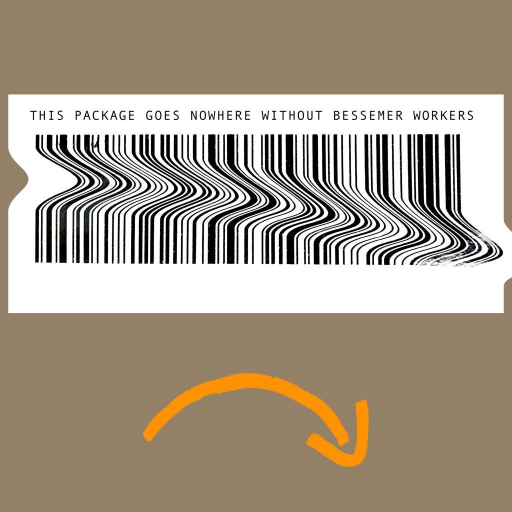 Floating, misshapen barcode and Amazon scowl